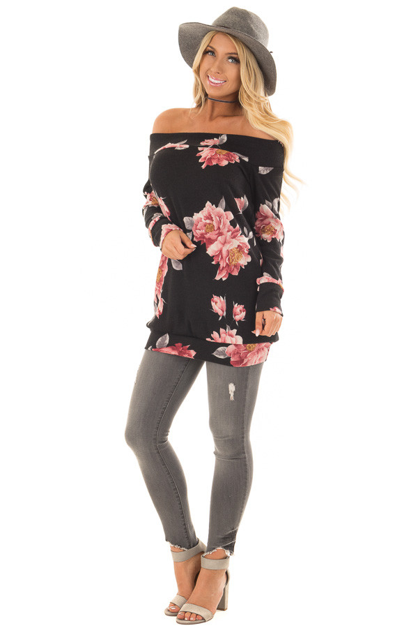 Black Floral Off the Shoulder Sweater front full body