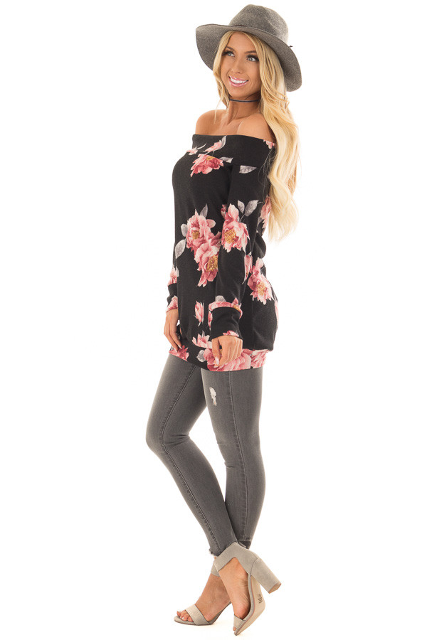 Black Floral Off the Shoulder Sweater side full body