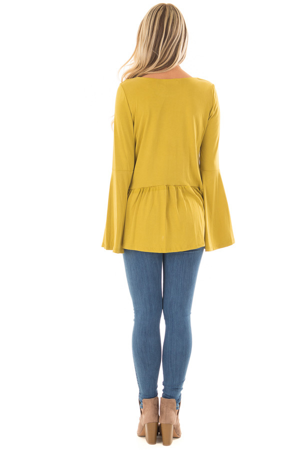 Citronella Yellow Babydoll Top with Bell Sleeves back full body