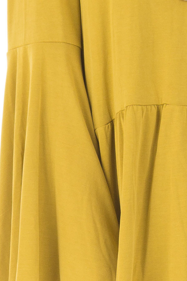 Citronella Yellow Babydoll Top with Bell Sleeves front detail