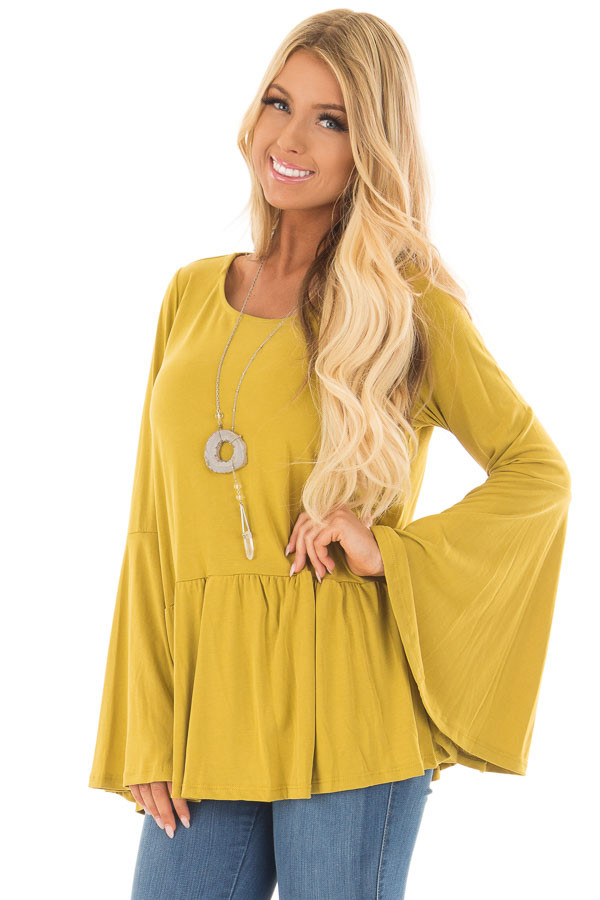 Citronella Yellow Babydoll Top with Bell Sleeves front closeup