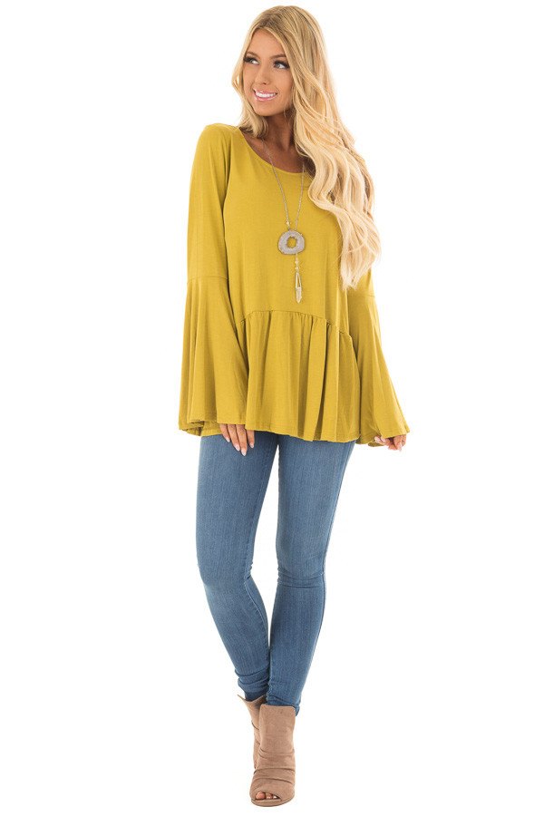 Citronella Yellow Babydoll Top with Bell Sleeves front full body
