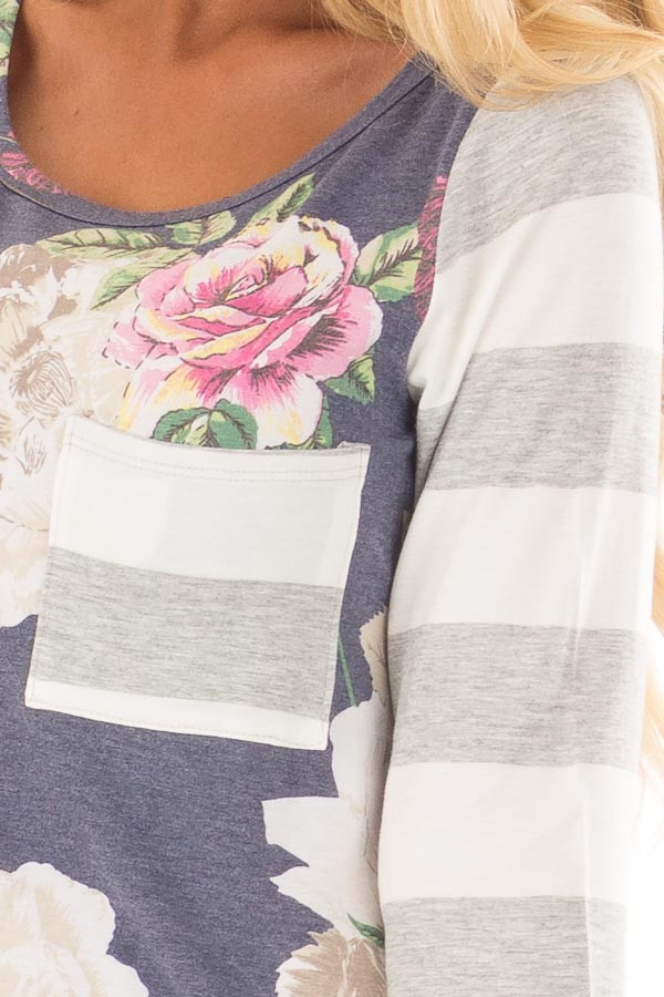 Navy Floral Print Tee Shirt with Striped Contrast front detail