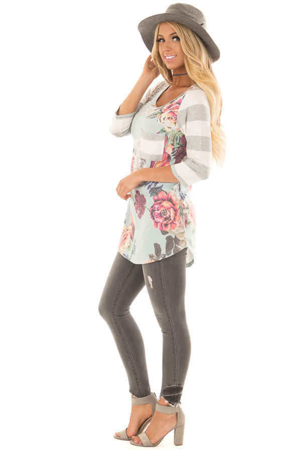 Mint Floral Print Tee Shirt with Striped Contrast side full body