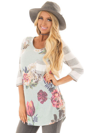 Mint Floral Print Tee Shirt with Striped Contrast front closeup