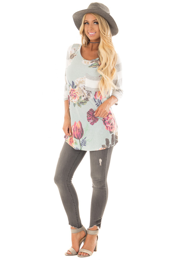 Mint Floral Print Tee Shirt with Striped Contrast front full body