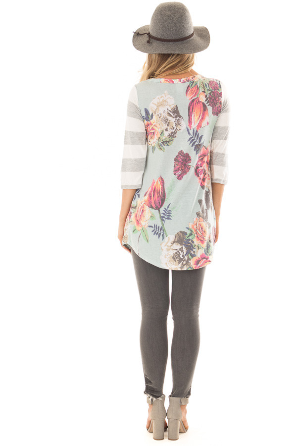Mint Floral Print Tee Shirt with Striped Contrast back full body