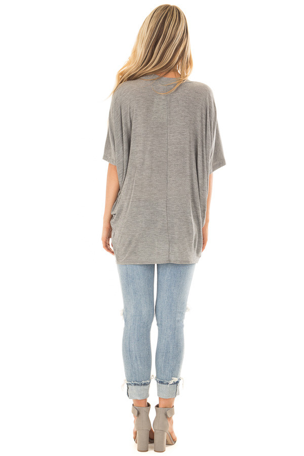 Cement Grey Batwing Top back full body