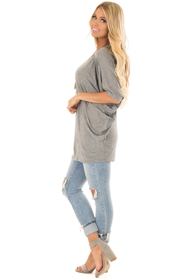 Cement Grey Batwing Top side full body