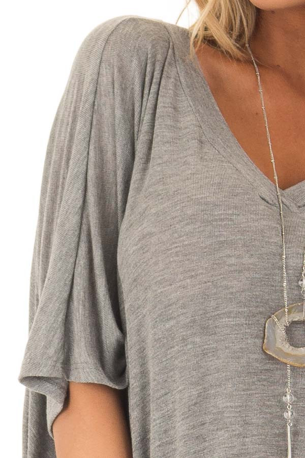 Cement Grey Batwing Top front detail