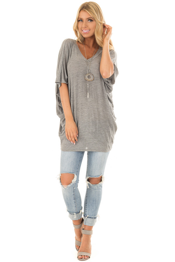 Cement Grey Batwing Top front full body