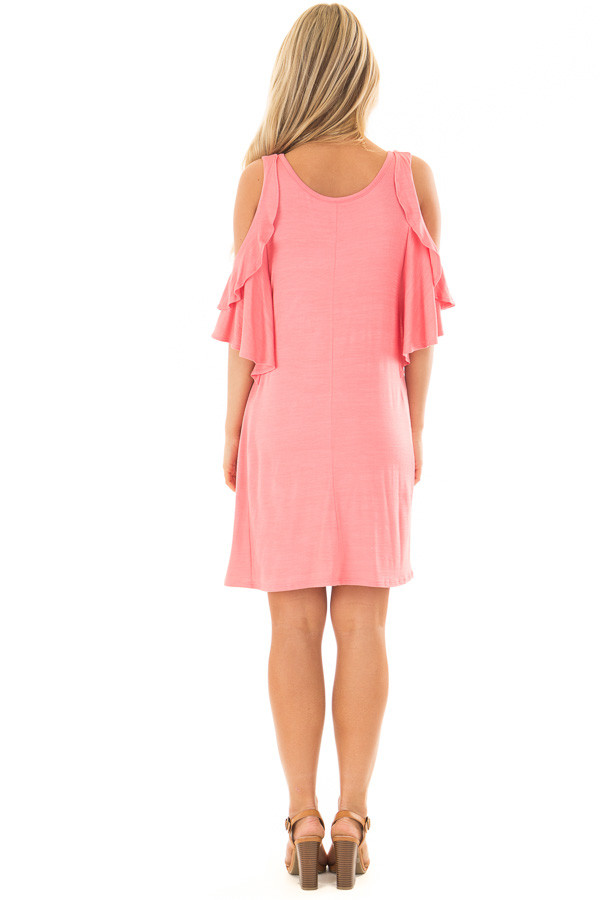 Coral Cold Shoulder Dress with Ruffle Sleeve Detail back full body