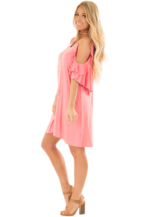 Coral Cold Shoulder Dress with Ruffle Sleeve Detail side full body