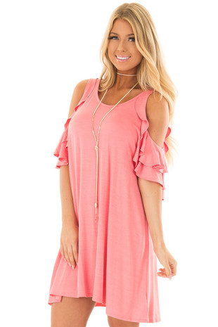 Coral Cold Shoulder Dress with Ruffle Sleeve Detail front closeup