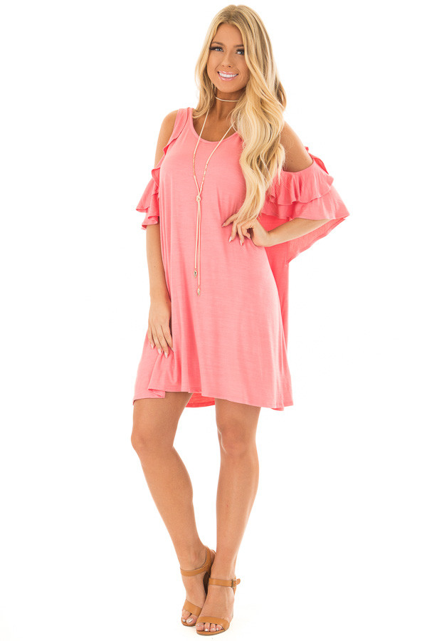 Coral Cold Shoulder Dress with Ruffle Sleeve Detail front full body