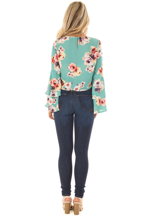 Teal Floral Print Crop Top with Bell Sleeves and Front Tie back full body