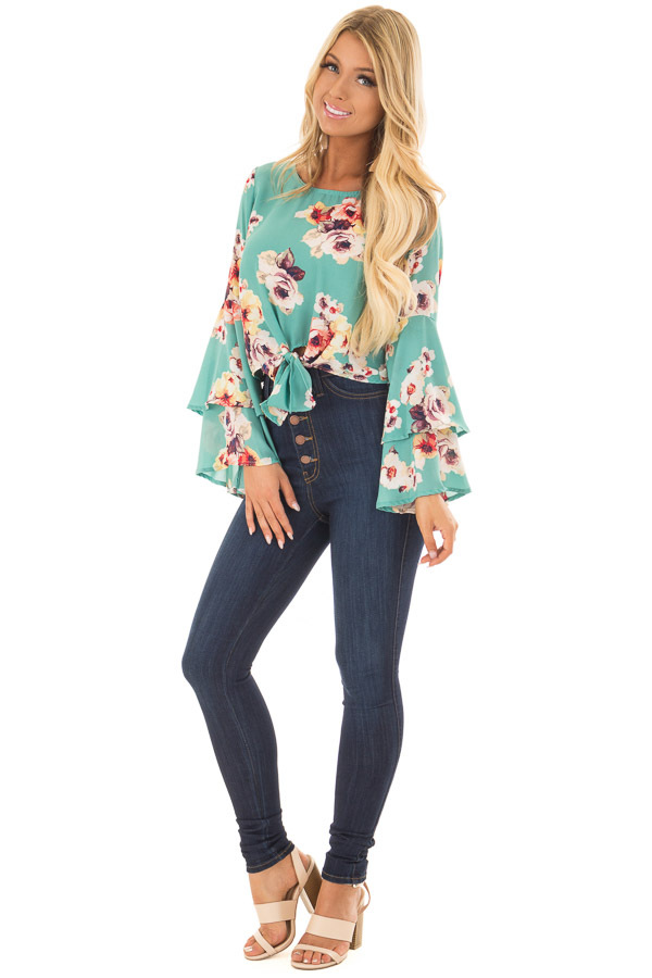 Teal Floral Print Crop Top with Bell Sleeves and Front Tie front full body