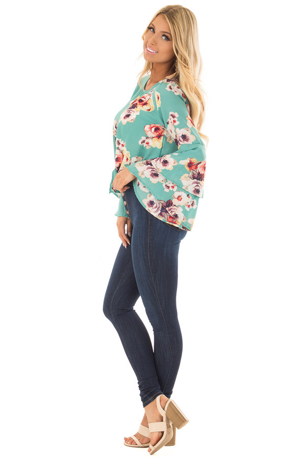 Teal Floral Print Crop Top with Bell Sleeves and Front Tie side full body