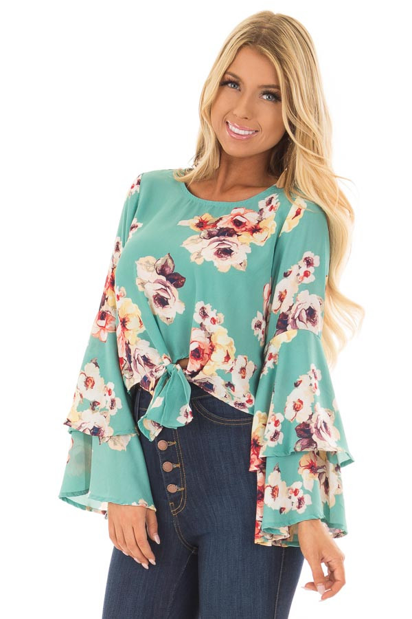 Teal Floral Print Crop Top with Bell Sleeves and Front Tie front closeup