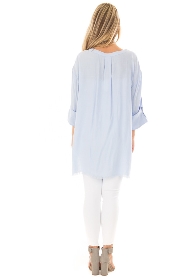Periwinkle Tunic with Distressed Hemline and Rolled Cuffs back full body