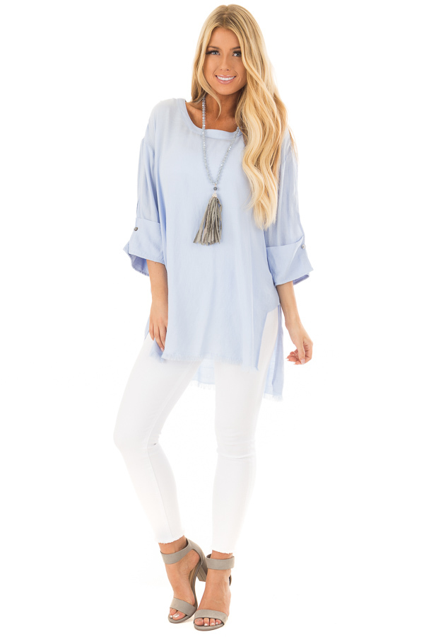 Periwinkle Tunic with Distressed Hemline and Rolled Cuffs front full body