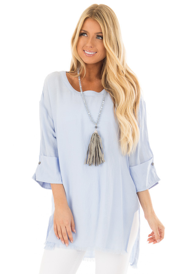 Periwinkle Tunic with Distressed Hemline and Rolled Cuffs front closeup