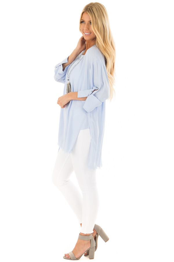 Periwinkle Tunic with Distressed Hemline and Rolled Cuffs side full body
