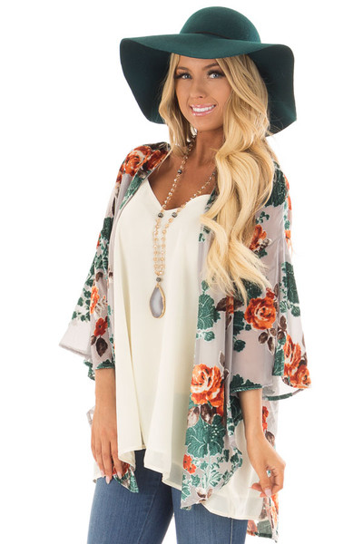 Cement Grey Sheer Kimono with Velvet Floral Print Contrast front closeup