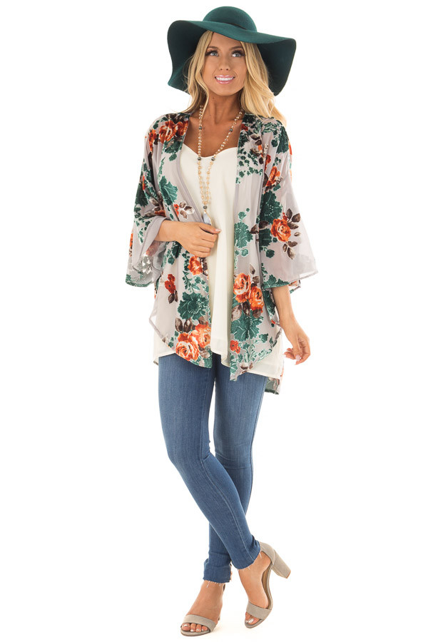 Cement Grey Sheer Kimono with Velvet Floral Print Contrast front full body
