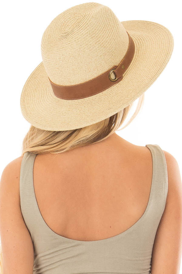 Beige Straw Hat with Mocha Faux Leather Band back side view