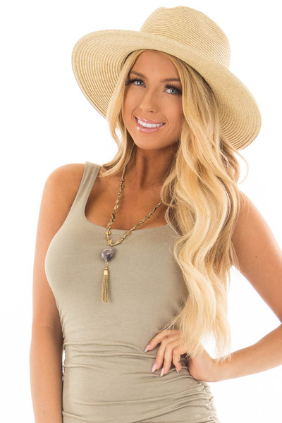 Beige Straw Hat with Mocha Faux Leather Band front view