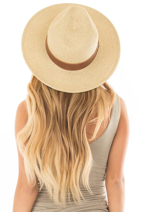 Beige Straw Hat with Mocha Faux Leather Band back view