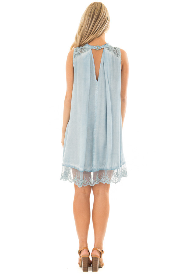 Light Blue Mineral Wash Tunic with Sheer Lace Details back full body