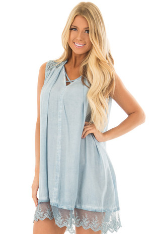 Light Blue Mineral Wash Tunic with Sheer Lace Details front closeup