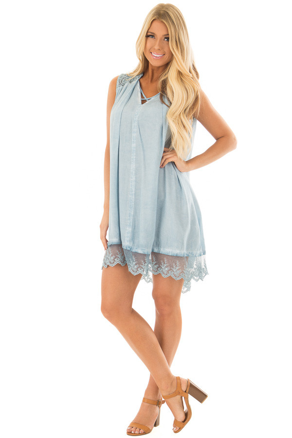 Light Blue Mineral Wash Tunic with Sheer Lace Details front full body