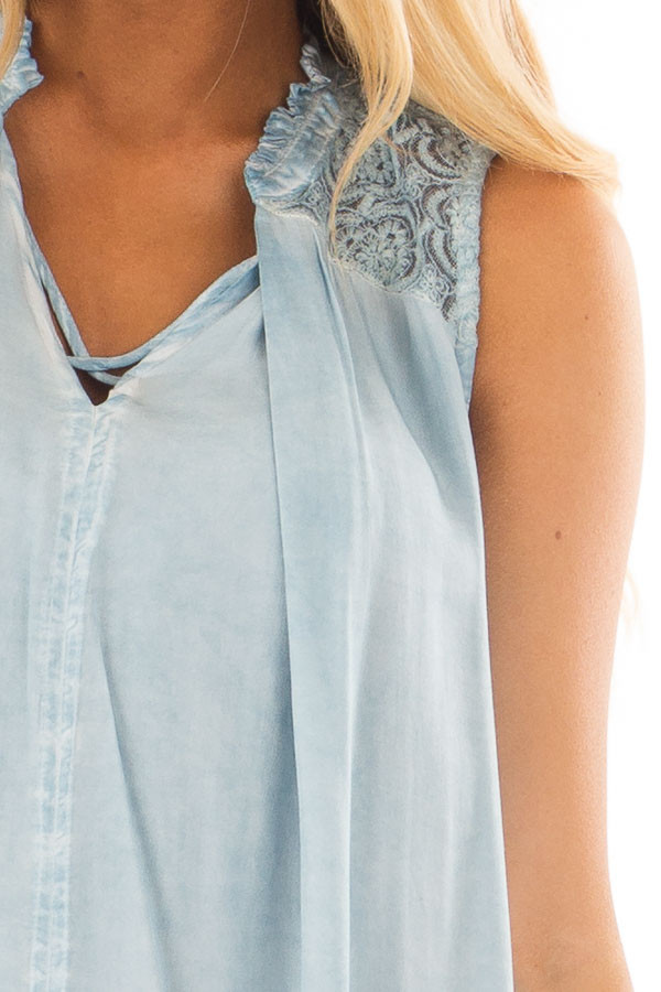 Light Blue Mineral Wash Tunic with Sheer Lace Details front detail