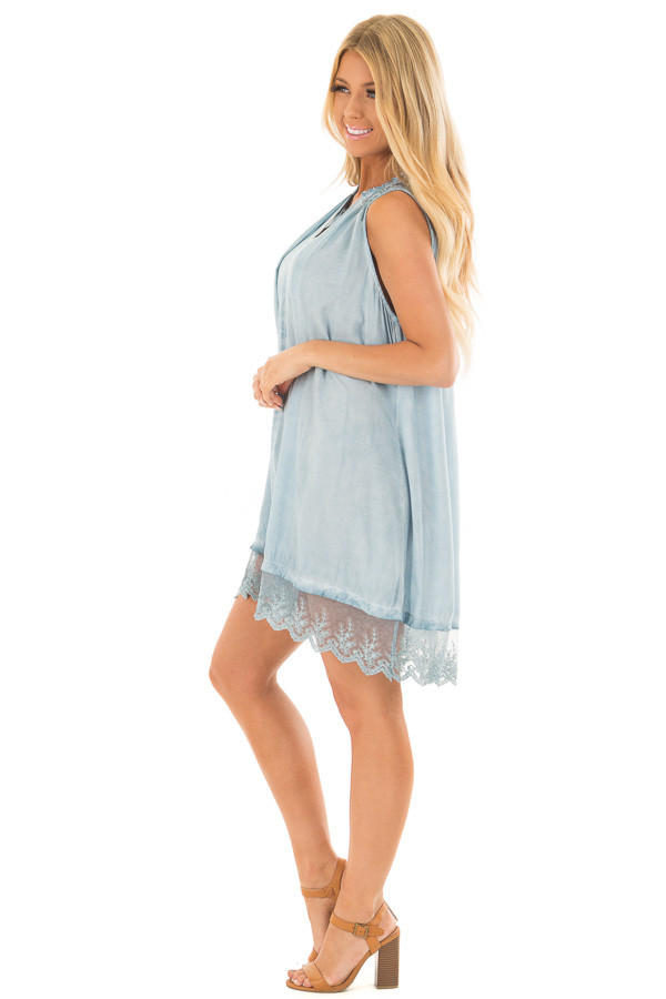 Light Blue Mineral Wash Tunic with Sheer Lace Details side full body