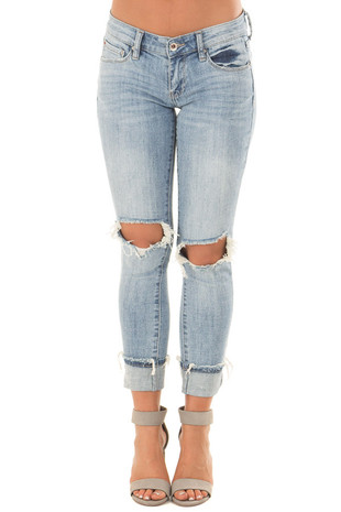 Light Wash Distressed Cuffed Ankle Skinny Jeans front