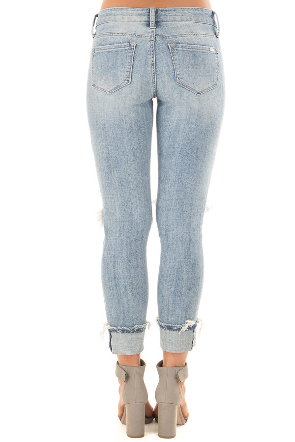 Light Wash Distressed Cuffed Ankle Skinny Jeans back