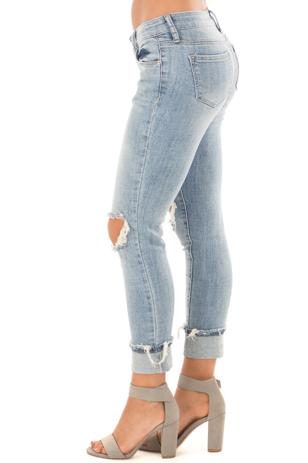 Light Wash Distressed Cuffed Ankle Skinny Jeans left side
