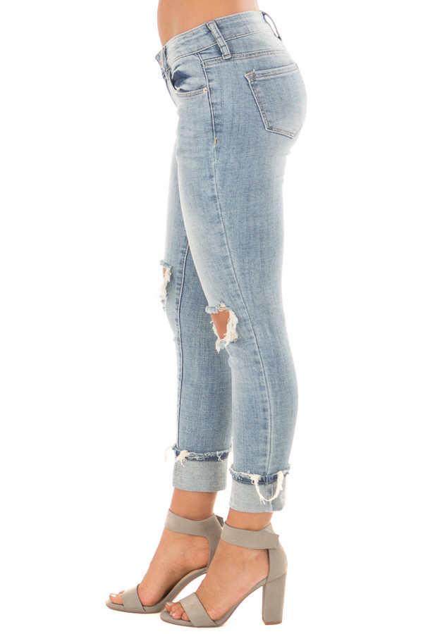 Light Wash Distressed Cuffed Ankle Skinny Jeans right side