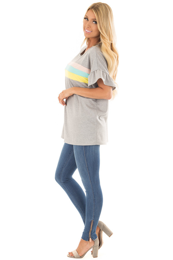 Heather Grey Ruffle Sleeve Top with Pastel Stripes side full body