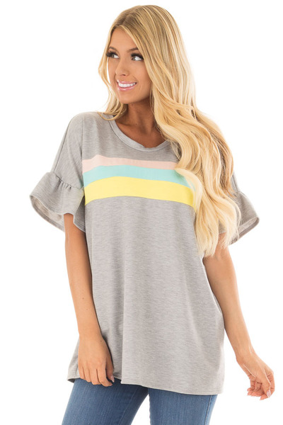 Heather Grey Ruffle Sleeve Top with Pastel Stripes front closeup