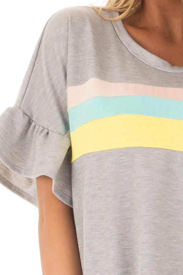 Heather Grey Ruffle Sleeve Top with Pastel Stripes front detail