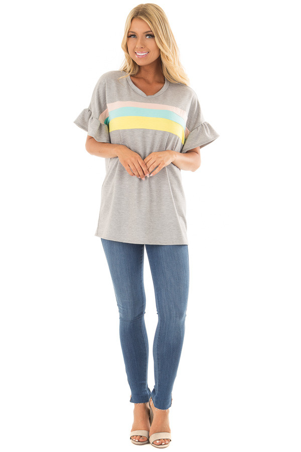 Heather Grey Ruffle Sleeve Top with Pastel Stripes front full body