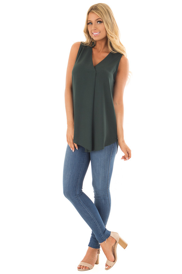 Deep Hunter Green Chiffon V Neck Sleeveless Blouse front full body