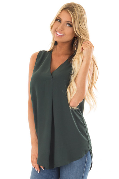 Deep Hunter Green Chiffon V Neck Sleeveless Blouse front closeup