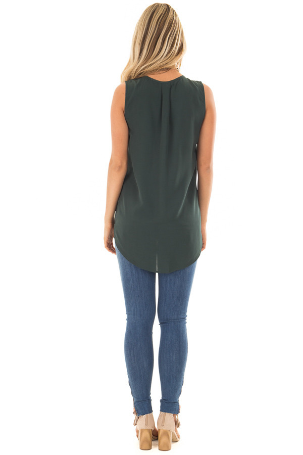 Deep Hunter Green Chiffon V Neck Sleeveless Blouse back full body