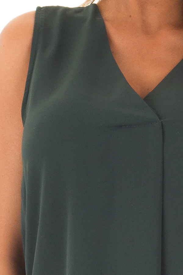 Deep Hunter Green Chiffon V Neck Sleeveless Blouse front detail
