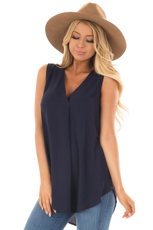Midnight Navy Chiffon V Neck Sleeveless Blouse front closeup